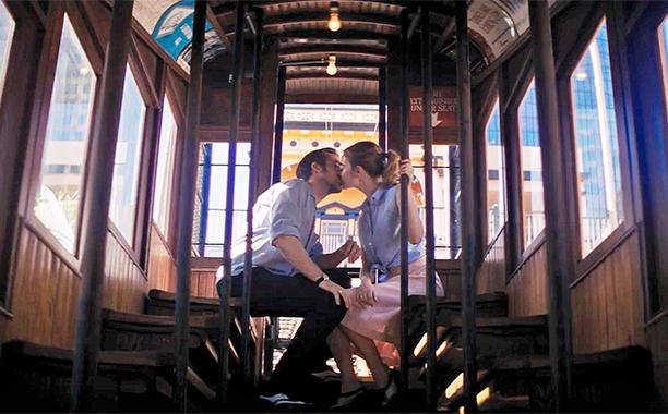 La La Land, Ryan Gosling, Emma Stone, angels flight